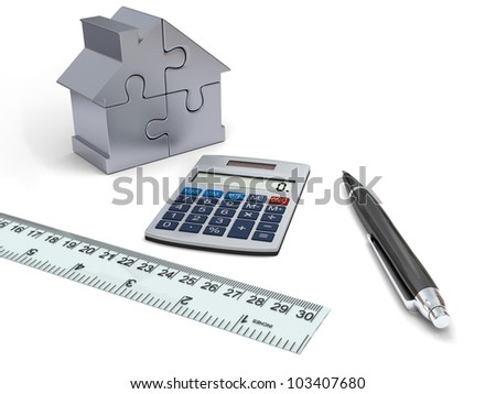 Concept of house financing with calculator, pen, ruler and silver model of house made of jigsaw pieces