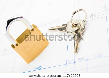 Concept of housing . Key and lock