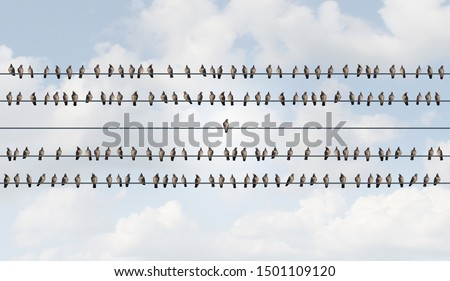 Concept of Individuality and independent thinker as birds on a wire with one individual bird alone as a business icon for new innovative thinking or independent leader with 3D illustration elements..