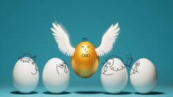 Concept of individuality, exclusivity, better choice. Golden egg takes off, waving its wings, among white eggs with funny drawn faces on blue background.