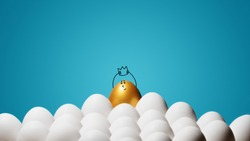 Concept of individuality, exclusivity, better choice, winning and ambition. A smiling golden egg with funny drawn face and with a crown among white eggs on blue background.