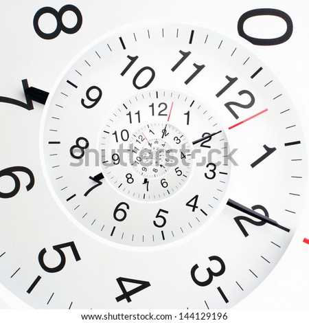 Concept of infinity time spiral. Twisted clock face