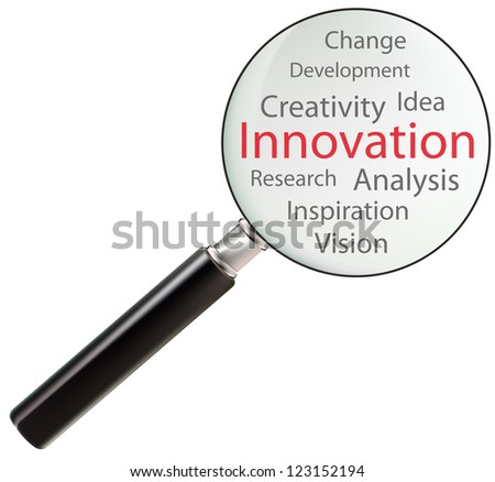 Concept of innovation consists of idea, vision, change, analysis, research, creativity, inspiration and development