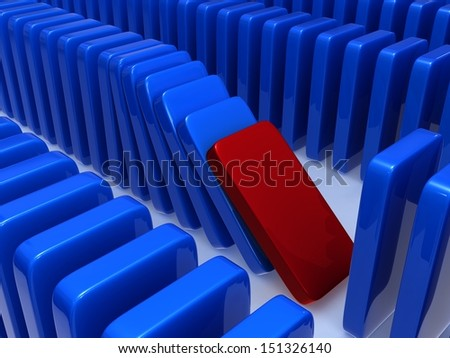 Concept of instability. The concept of instability expressed through a principle of dominoes, falling of one of dominoes leads to falling of the others in this series.