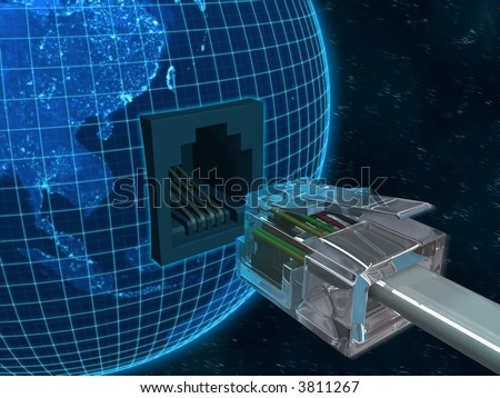 Concept of internet using the Virtual 3D Cable connecting with Planet Earth.
