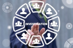 Concept of investigation. Investigations Business Finance. Investigator using virtual touch screen with people icons touch investigation word.