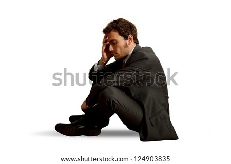Concept of isolated businessman with problem