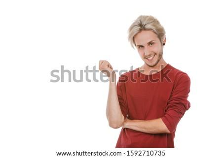 Concept of joy. Happy joyful young man, stylish bearded male smiling laughing, isolated on white