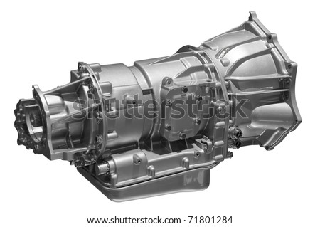 Concept of land vehicle transmission box isolated on white background. Clipping path included.