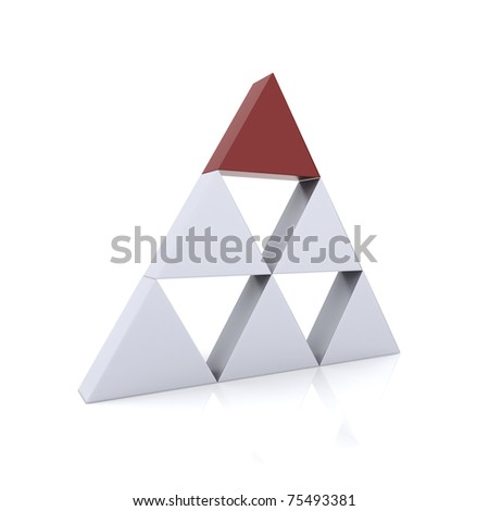 Concept of leadership with silver and red triangles (red collection)