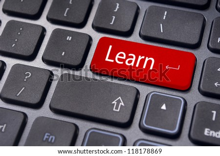 concept of learning, with message on computer keyboard enter button.