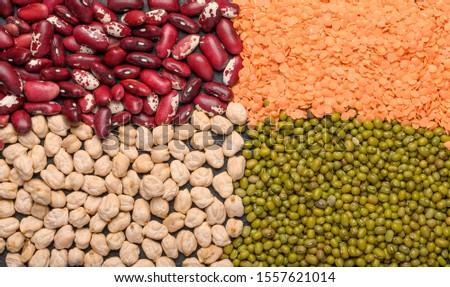 Concept of legumes chickpeas, lentils, beans, mash. Protein plant background top view