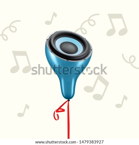 Concept of light and thin sound. Blue balloon as a music speaker on grey background. Negative space to insert your text. Modern design. Contemporary art collage. Favourite songs sounds like it. #1479383927