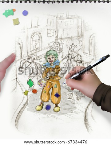 concept of live sketch of the carnival