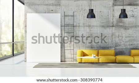 Concept of loft, mock up poster on concrete wall, 3d render