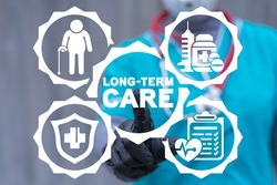 Concept of long term care. Medical insurance elderly and invalid.