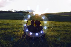 Concept of love compatibility between zodiac signs. Horoscope astrology zodiac.