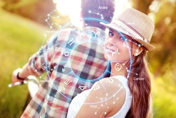Concept of love with happy couple between zodiac signs. Horoscope astrology zodiac.