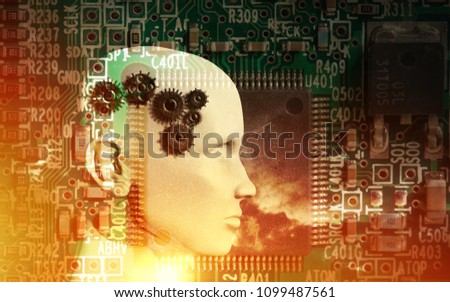 Concept of machine learning to improve artificial intelligence and its ability of thinking. 3D illustration