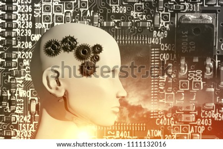 Concept of machine learning to improve artificial intelligence and its ability of thinking, 3D illustration