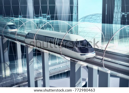 Concept of magnetic levitation train moving on the sky way in tunnel across the city. Modern city transport. 3d rendering illustration
