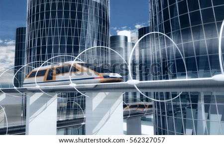 Shutterstock Concept of magnetic levitation train moving on the sky way in vacuum tunnel across the city. Modern city transport. 3d rendering illustration