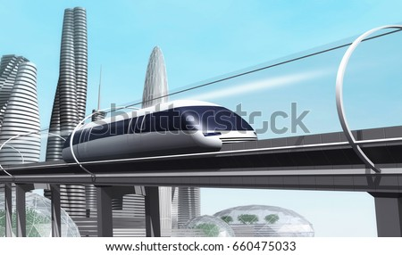 Shutterstock Concept of magnetic levitation train moving on the skyway in a vacuum tunnel across the city. Modern city transport. 3d rendering illustration.