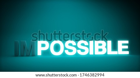 concept of making the impossible possible, word impossible with text possible illuminated, 3d illustration Foto stock ©