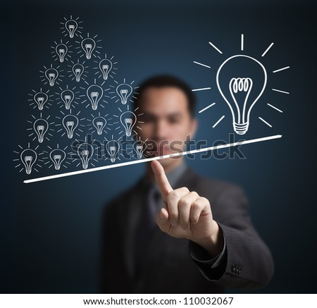 Concept of many small ideas are more important than one big idea . Express by balance weight on business man finger tip.