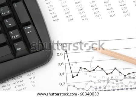 Concept of market share analysis - pencil; graph; sheet with numbers and keyboard