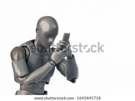 Concept of men figure with smartphone. Men watching phone. Everday life with smartphone Stockfoto ©