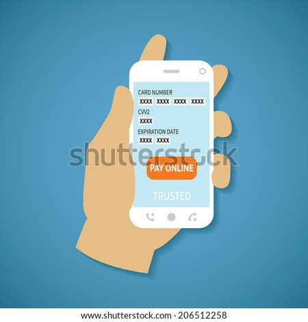 Concept of mobile payment application from credit bank card on smartphone screen in man hand. Rasterized illustration.