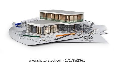 Concept of modern cottage located on blueprints, 3d illustration