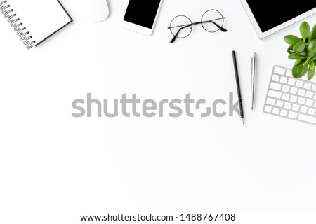 Concept of modern office desktop with accessories. Business background with copyspace