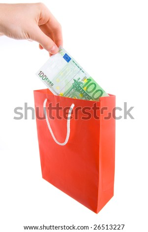 Concept of money in shopping bag. Isolated.