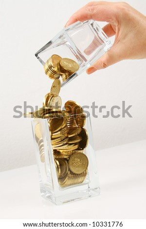 concept of money transfer from one account to another - stock photo