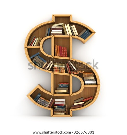 Concept of money. Wooden bookshelf full of books in form of dollar sign. The literature about money. Learning economy. A human have more knowledge.