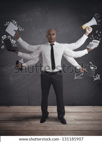 Concept of multitasking businessman