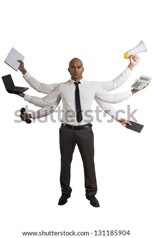 Concept of multitasking businessman on white background