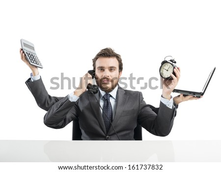 Concept of multitasking businessman who works with more arms