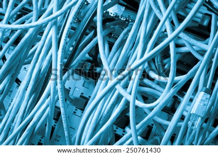 Concept of  network infrastructure with cables connected to data center