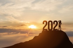 Concept of New Year 2021 and business development.