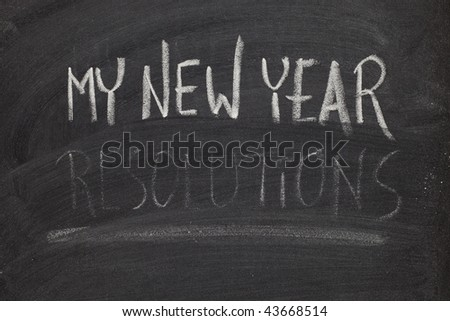 concept of New Year resolution fading, being erased, forgotten or falling apart - white chalk handwriting on blackboard