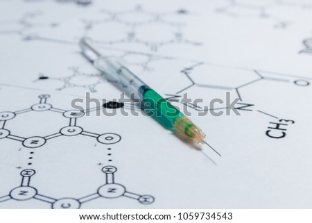 Concept of Non-natural Products, Gmo. Syringe on White Background with Chemical Formula, #1059734543
