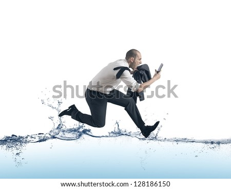 Concept of of stress with businessman running on the water - stock photo
