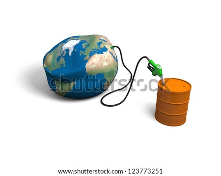 Concept of oil depletion with illustration of oil pump, pumping out oil from deflated Earth into petrol barrel, isolated on white background. Elements of this image furnished by NASA