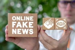 Concept of online fake news. Internet Social Media Hoax Propaganda.