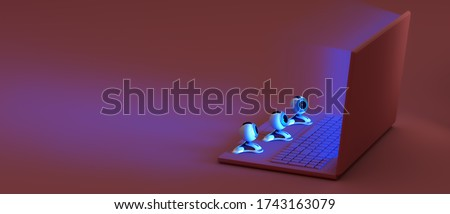 Concept of online virtual event, visitors, viewers watching online movie, exhibition, museum, theatre, webinar, course from home. 3d rendered pink laptop with web cameras watching the blue screen Photo stock ©