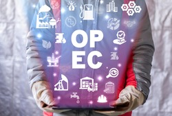 Concept of OPEC Organization of Petroleum Exporting Countries. Fuel industry market control.