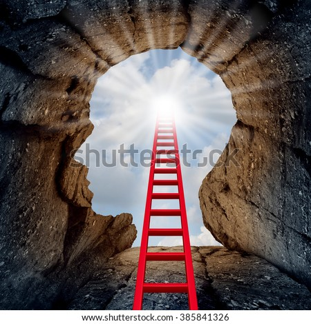 Shutterstock Concept of open mind as a a deep mountain cliff shaped as a human head with a ladder leading to the outside towards a glowing sun as a psychology and mental health metaphor for spiritual discovery.